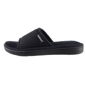 Black Isotoner Mesh Slide Slip On Slippers 8/9